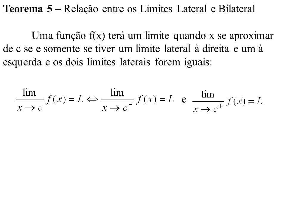 Teorema 5 – Relação entre os Limites Lateral e Bilateral
