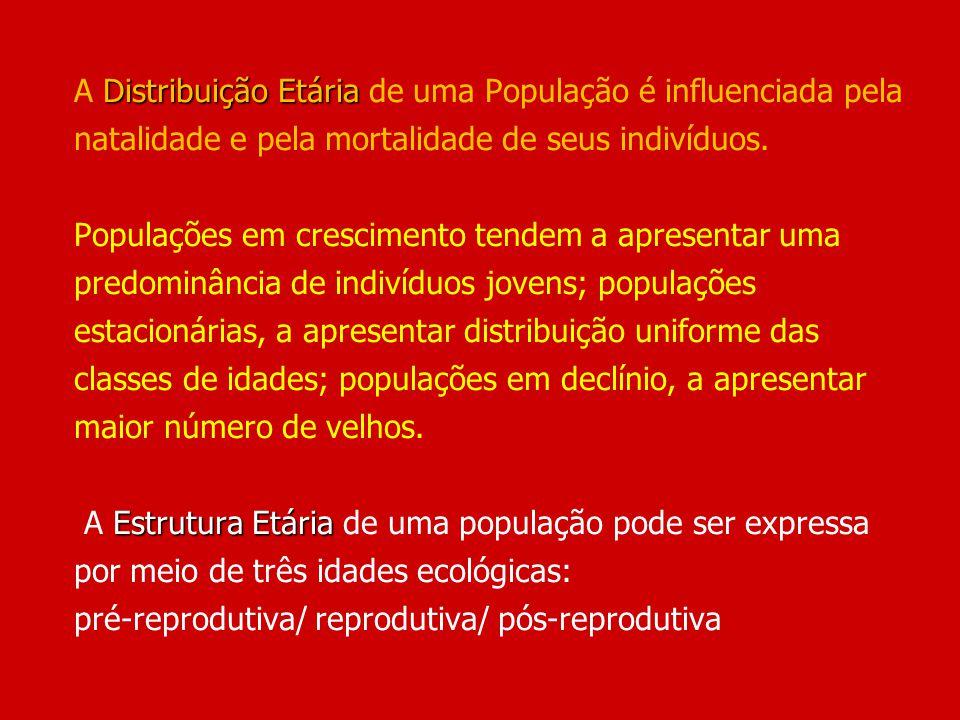 A Distribuição Etária de uma População é influenciada pela natalidade e pela mortalidade de seus indivíduos.