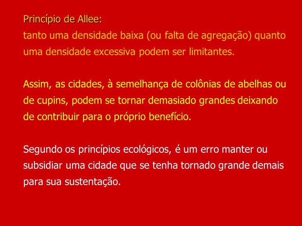 Princípio de Allee: tanto uma densidade baixa (ou falta de agregação) quanto uma densidade excessiva podem ser limitantes.