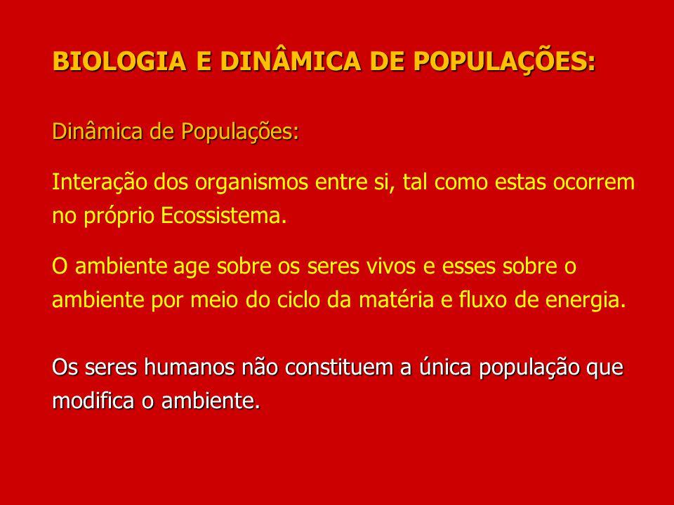 BIOLOGIA E DINÂMICA DE POPULAÇÕES: Dinâmica de Populações: Interação dos organismos entre si, tal como estas ocorrem no próprio Ecossistema.