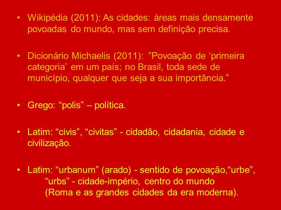 Wikipédia (2011): As cidades: áreas mais densamente povoadas do mundo, mas sem definição precisa.