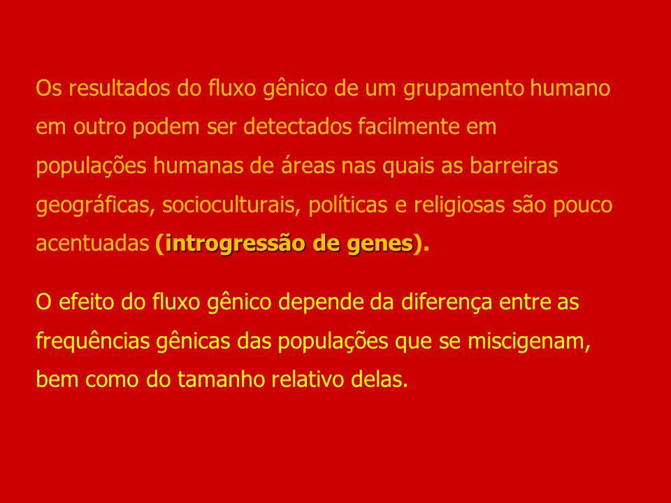 Os resultados do fluxo gênico de um grupamento humano em outro podem ser detectados facilmente em populações humanas de áreas nas quais as barreiras geográficas, socioculturais, políticas e religiosas são pouco acentuadas (introgressão de genes).