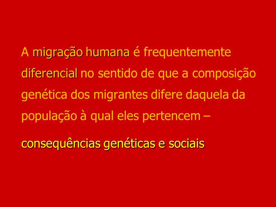 A migração humana é frequentemente diferencial no sentido de que a composição genética dos migrantes difere daquela da população à qual eles pertencem – consequências genéticas e sociais