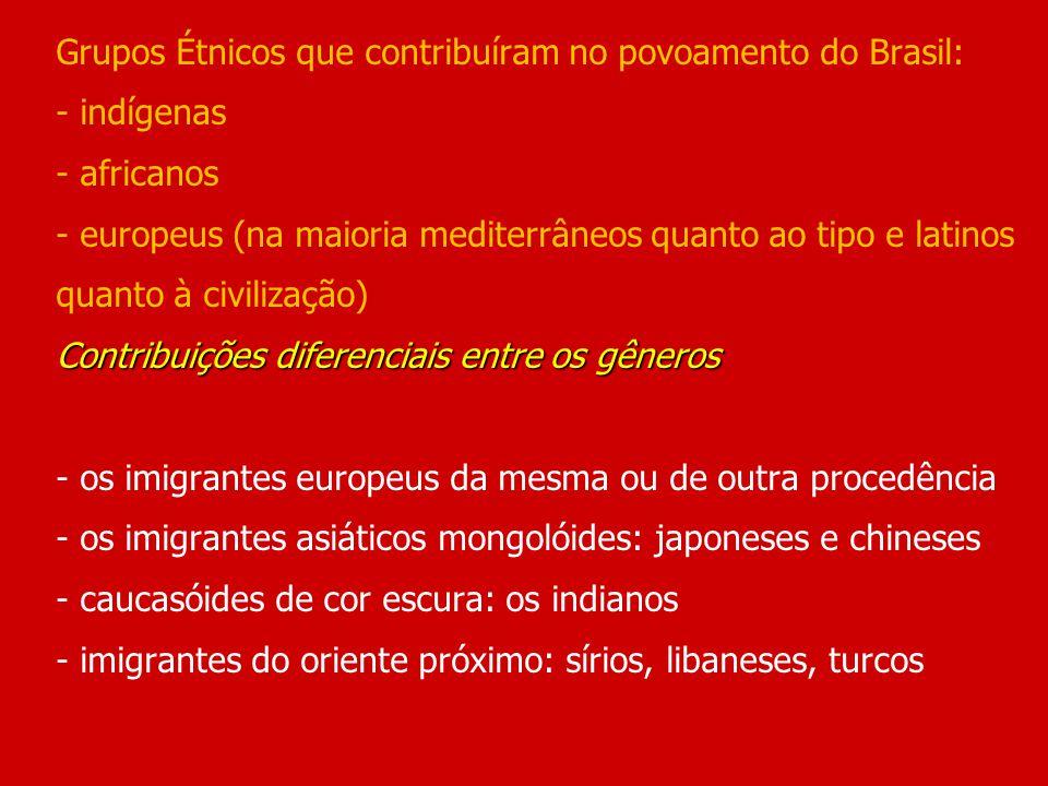 Grupos Étnicos que contribuíram no povoamento do Brasil: - indígenas - africanos - europeus (na maioria mediterrâneos quanto ao tipo e latinos quanto à civilização) Contribuições diferenciais entre os gêneros - os imigrantes europeus da mesma ou de outra procedência - os imigrantes asiáticos mongolóides: japoneses e chineses - caucasóides de cor escura: os indianos - imigrantes do oriente próximo: sírios, libaneses, turcos