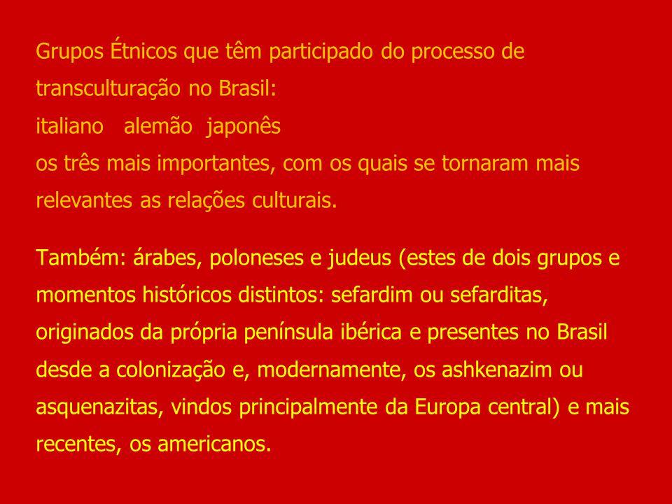 Grupos Étnicos que têm participado do processo de transculturação no Brasil: italiano alemão japonês os três mais importantes, com os quais se tornaram mais relevantes as relações culturais.
