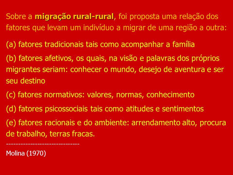 Sobre a migração rural-rural, foi proposta uma relação dos fatores que levam um indivíduo a migrar de uma região a outra: (a) fatores tradicionais tais como acompanhar a família (b) fatores afetivos, os quais, na visão e palavras dos próprios migrantes seriam: conhecer o mundo, desejo de aventura e ser seu destino (c) fatores normativos: valores, normas, conhecimento (d) fatores psicossociais tais como atitudes e sentimentos (e) fatores racionais e do ambiente: arrendamento alto, procura de trabalho, terras fracas.