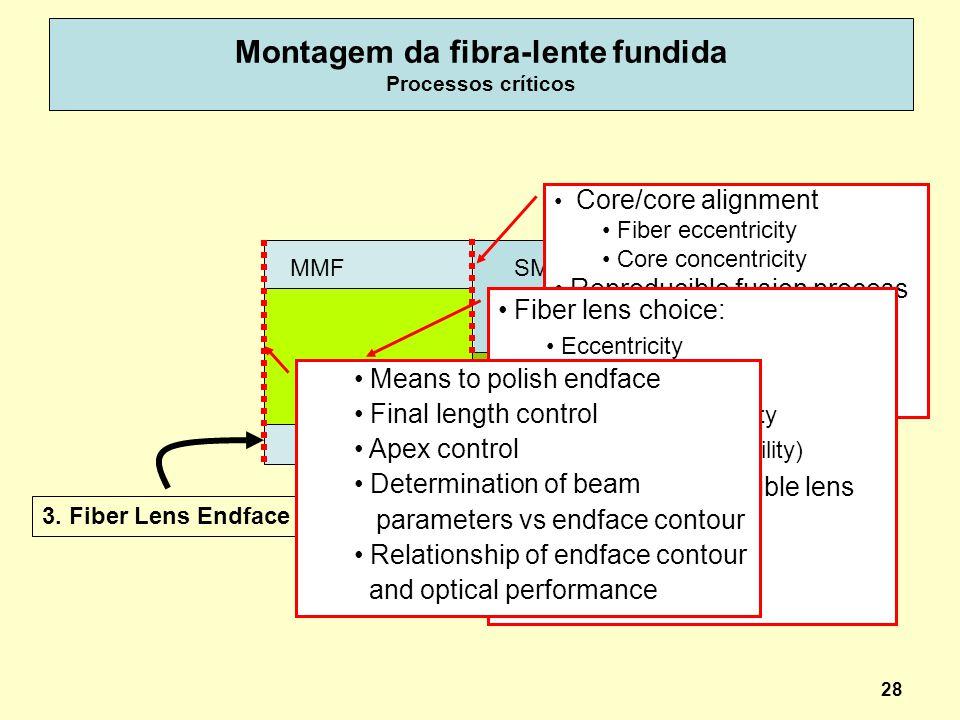 Montagem da fibra-lente fundida Processos críticos