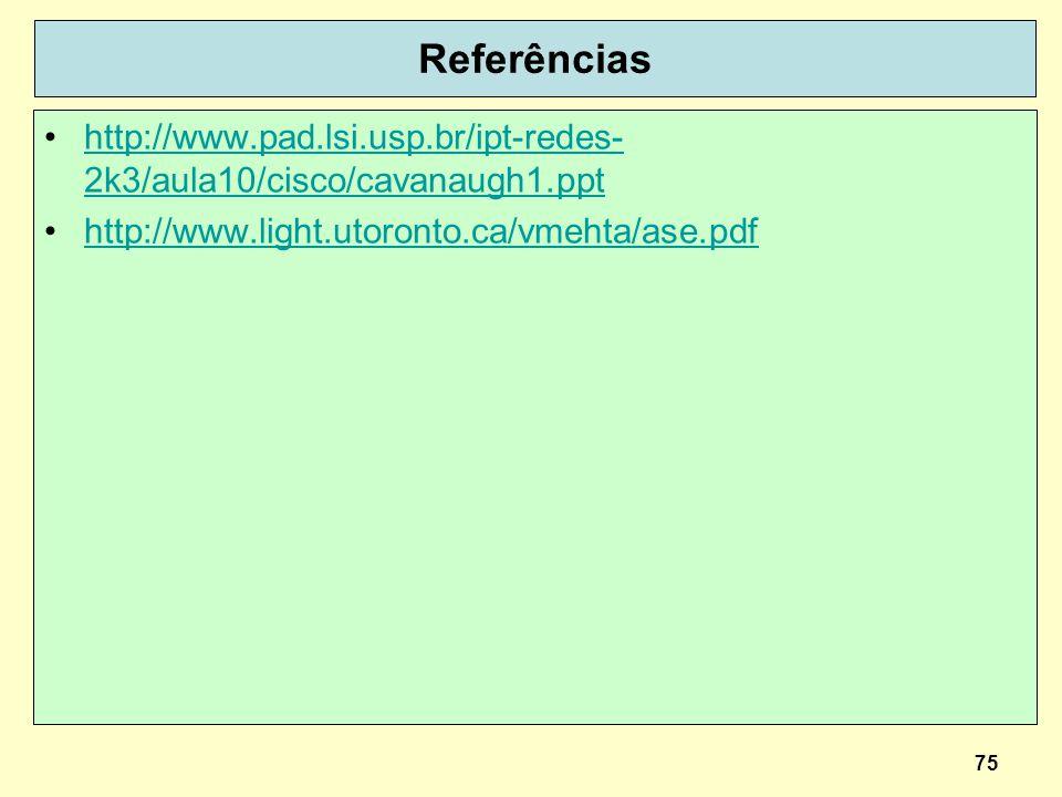 Referências http://www.pad.lsi.usp.br/ipt-redes-2k3/aula10/cisco/cavanaugh1.ppt.