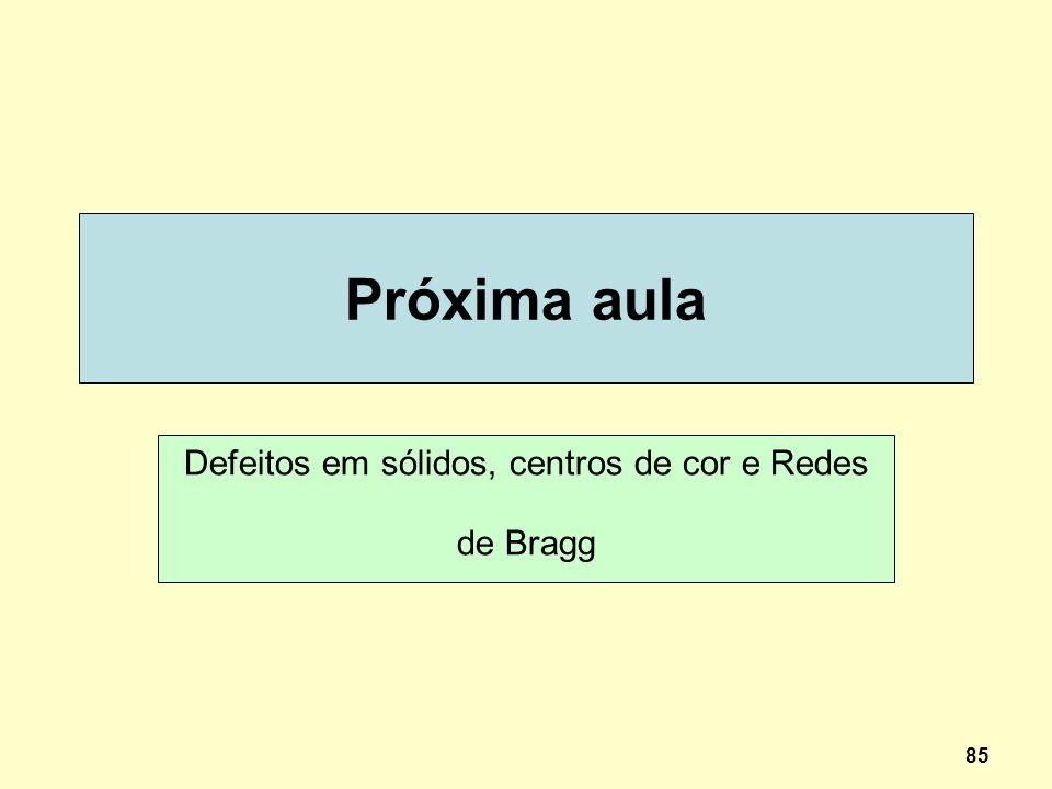 Defeitos em sólidos, centros de cor e Redes de Bragg