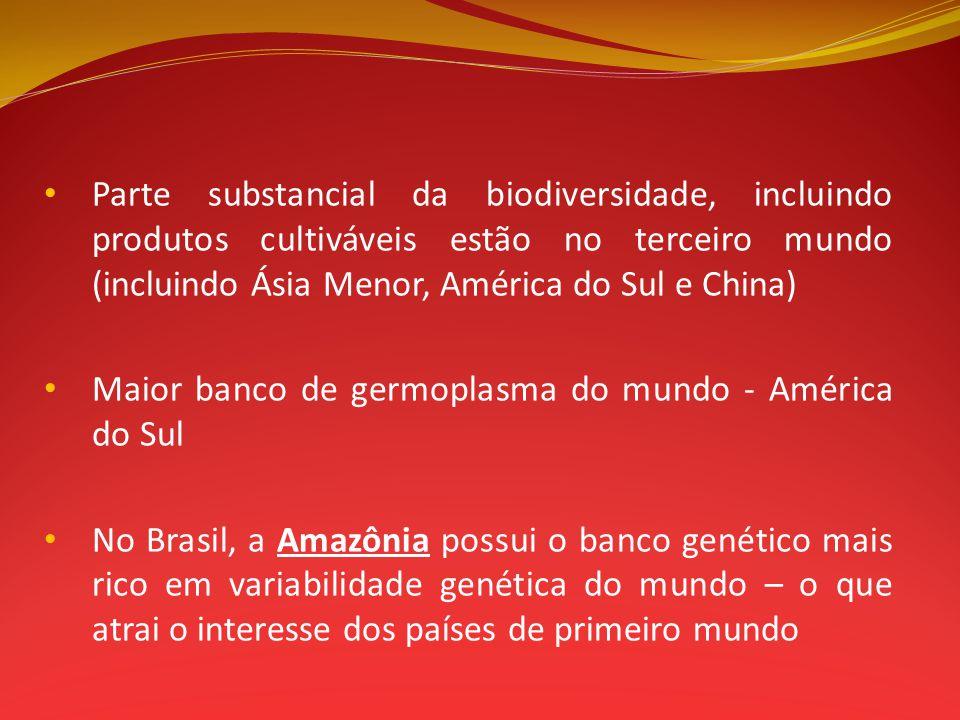 Parte substancial da biodiversidade, incluindo produtos cultiváveis estão no terceiro mundo (incluindo Ásia Menor, América do Sul e China)