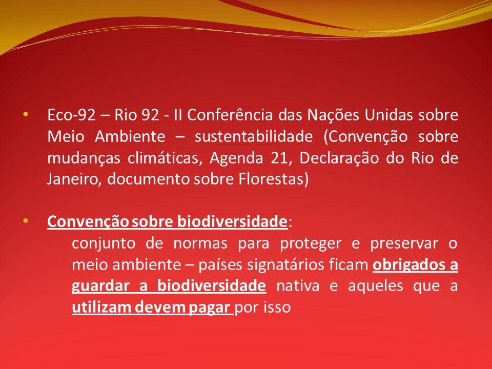 Eco-92 – Rio 92 - II Conferência das Nações Unidas sobre Meio Ambiente – sustentabilidade (Convenção sobre mudanças climáticas, Agenda 21, Declaração do Rio de Janeiro, documento sobre Florestas)