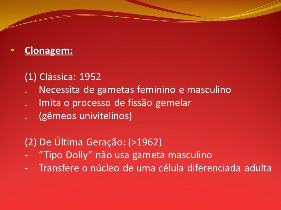 Clonagem: (1) Clássica: 1952. . Necessita de gametas feminino e masculino. . Imita o processo de fissão gemelar.