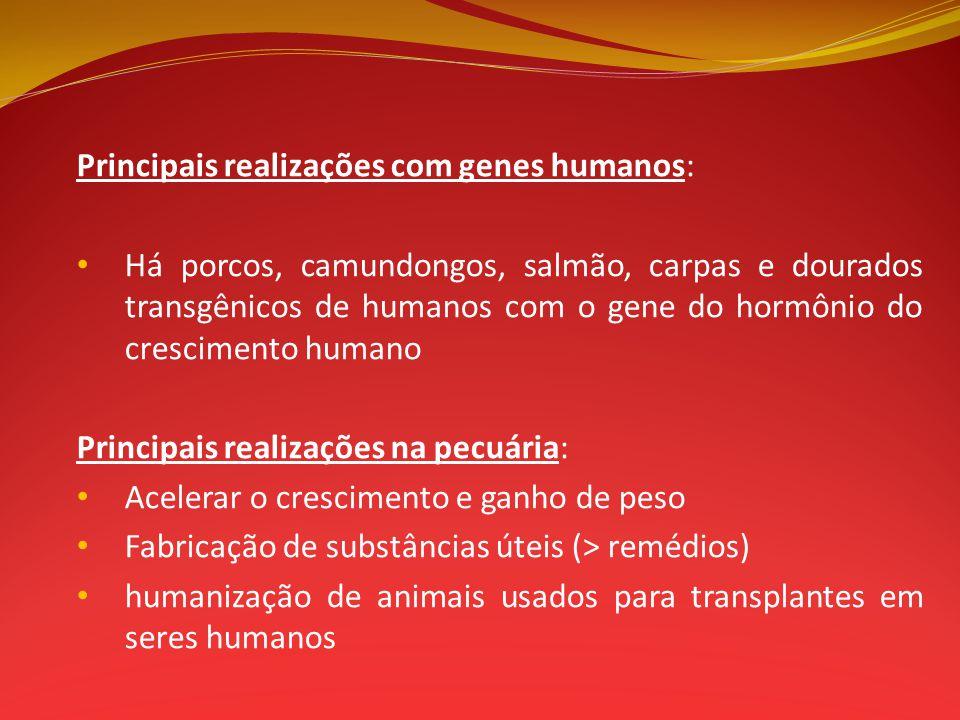 Principais realizações com genes humanos: