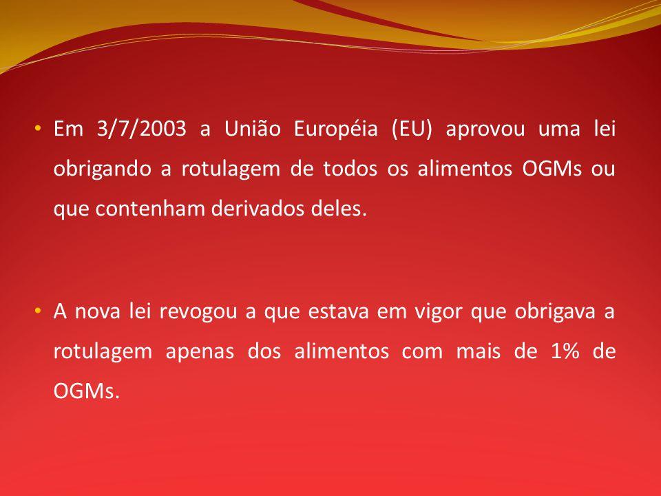 Em 3/7/2003 a União Européia (EU) aprovou uma lei obrigando a rotulagem de todos os alimentos OGMs ou que contenham derivados deles.