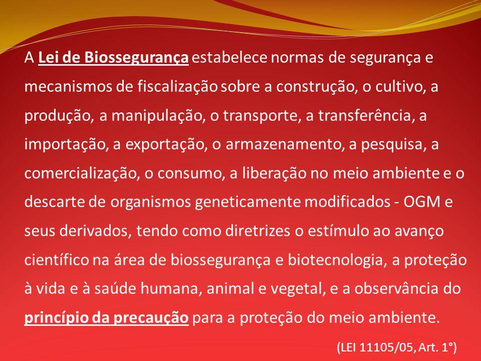 A Lei de Biossegurança estabelece normas de segurança e