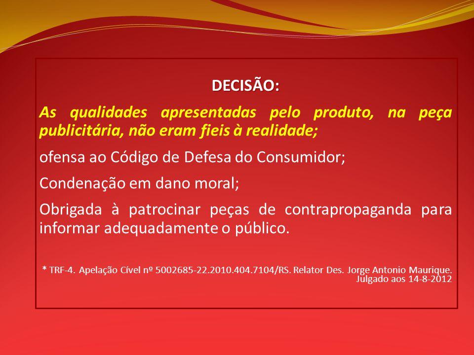 ofensa ao Código de Defesa do Consumidor; Condenação em dano moral;