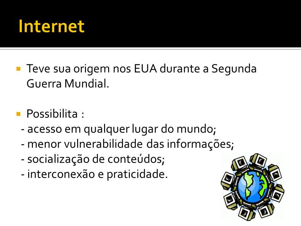 Internet Teve sua origem nos EUA durante a Segunda Guerra Mundial.