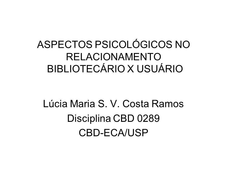 ASPECTOS PSICOLÓGICOS NO RELACIONAMENTO BIBLIOTECÁRIO X USUÁRIO