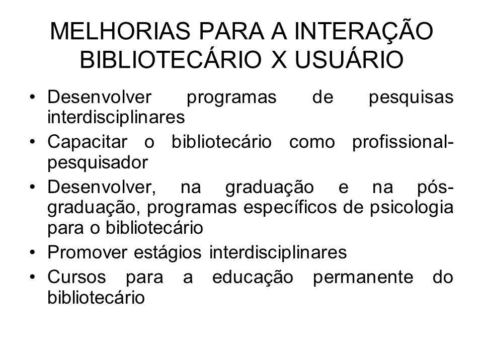MELHORIAS PARA A INTERAÇÃO BIBLIOTECÁRIO X USUÁRIO