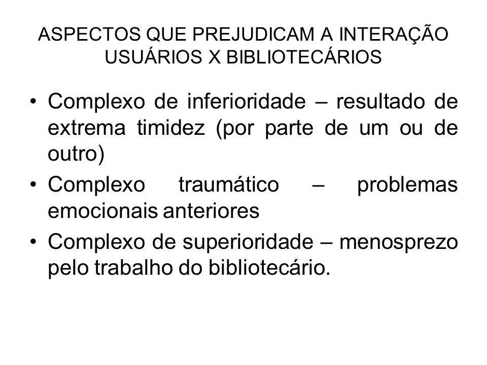 ASPECTOS QUE PREJUDICAM A INTERAÇÃO USUÁRIOS X BIBLIOTECÁRIOS
