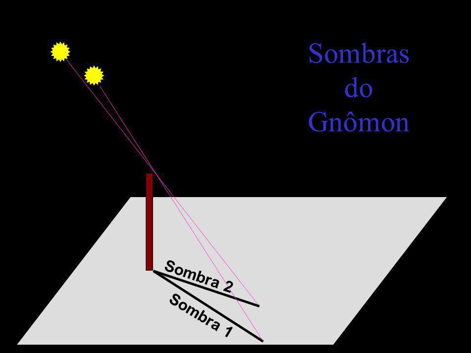 Sombras do Gnômon Sombra 2 Sombra 1
