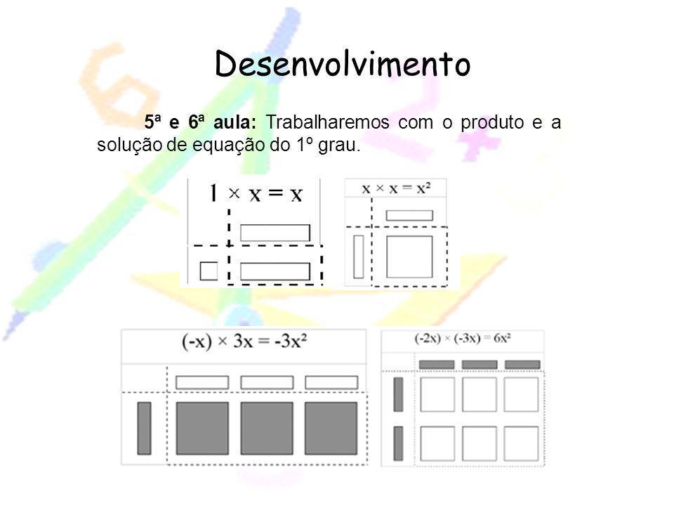 Desenvolvimento 5ª e 6ª aula: Trabalharemos com o produto e a solução de equação do 1º grau.