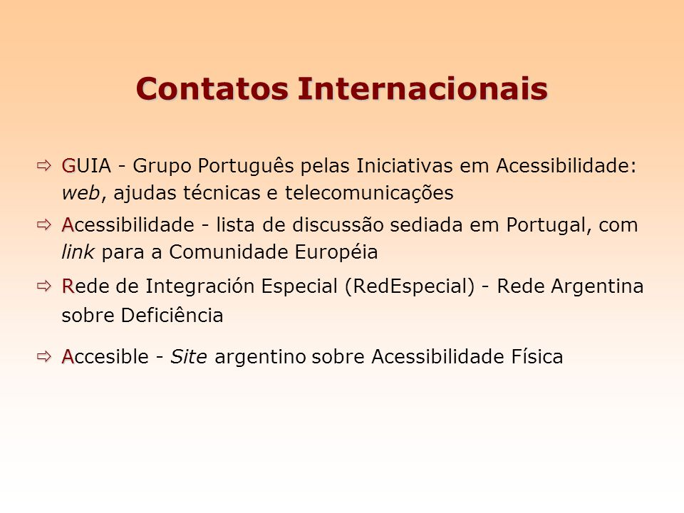 Contatos Internacionais