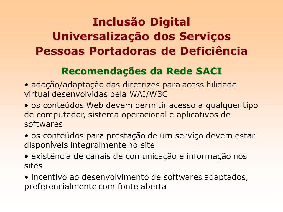Recomendações da Rede SACI