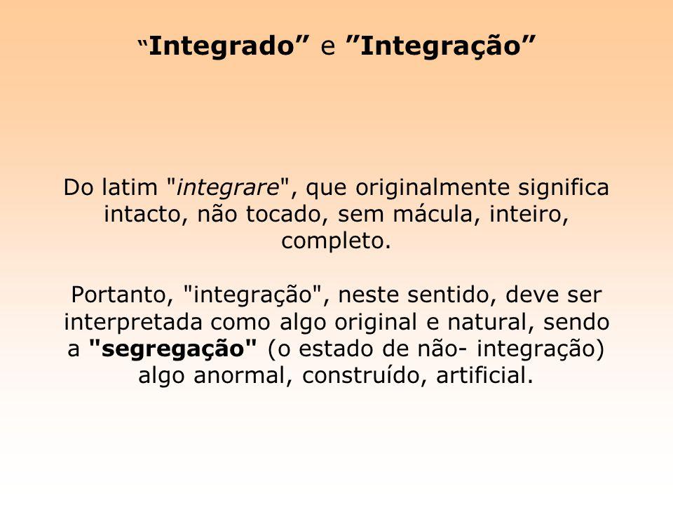 Integrado e Integração Do latim integrare , que originalmente significa intacto, não tocado, sem mácula, inteiro, completo.