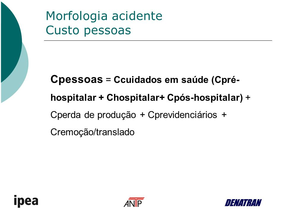 Morfologia acidente Custo pessoas
