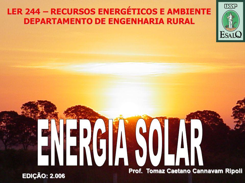 ENERGIA SOLAR LER 244 – RECURSOS ENERGÉTICOS E AMBIENTE