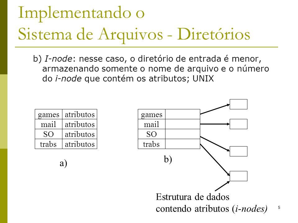 Implementando o Sistema de Arquivos - Diretórios