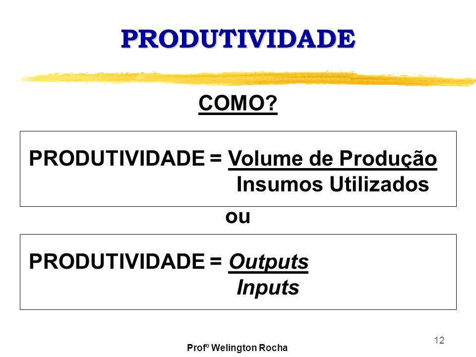 PRODUTIVIDADE COMO PRODUTIVIDADE = Volume de Produção