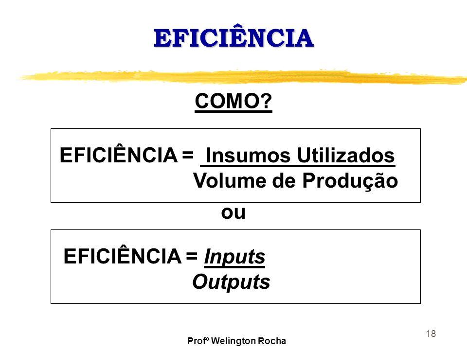 EFICIÊNCIA COMO EFICIÊNCIA = Insumos Utilizados Volume de Produção ou