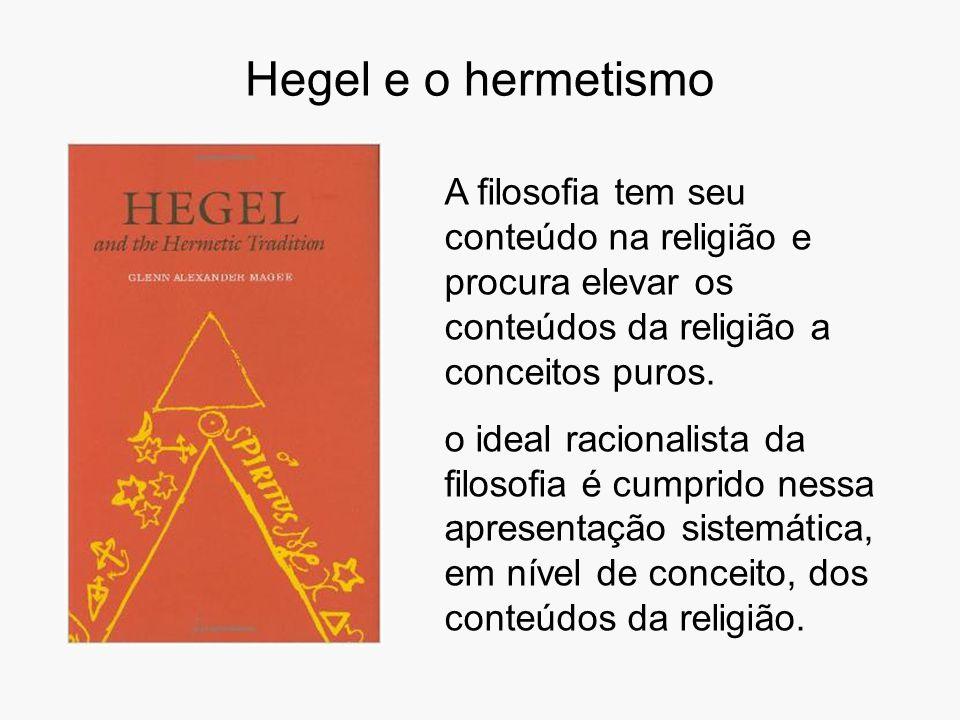 Hegel e o hermetismo A filosofia tem seu conteúdo na religião e procura elevar os conteúdos da religião a conceitos puros.