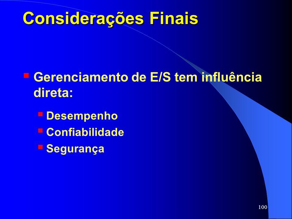 Considerações Finais Gerenciamento de E/S tem influência direta: