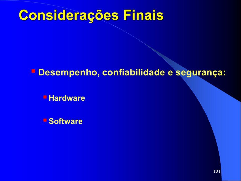 Considerações Finais Desempenho, confiabilidade e segurança: Hardware