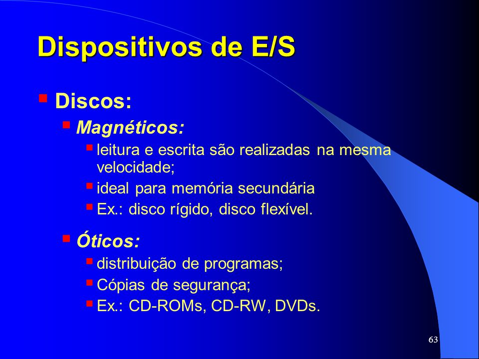 Dispositivos de E/S Discos: Magnéticos: Óticos: