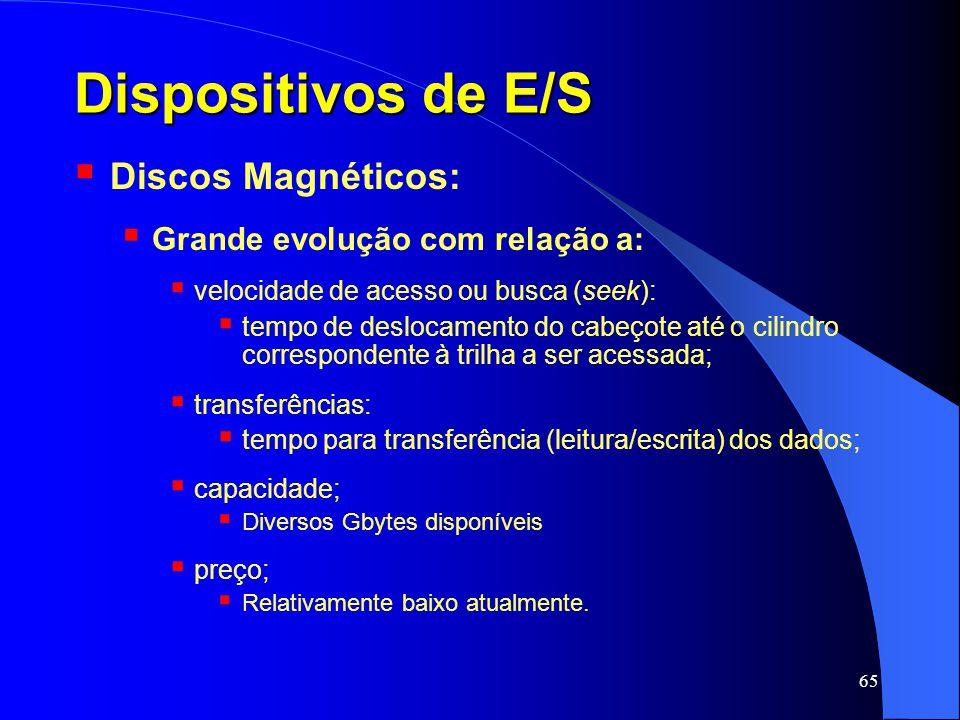 Dispositivos de E/S Discos Magnéticos: Grande evolução com relação a: