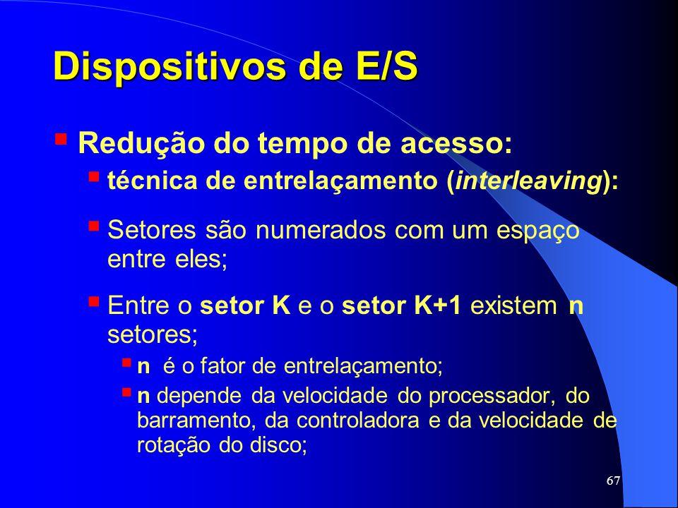 Dispositivos de E/S Redução do tempo de acesso: