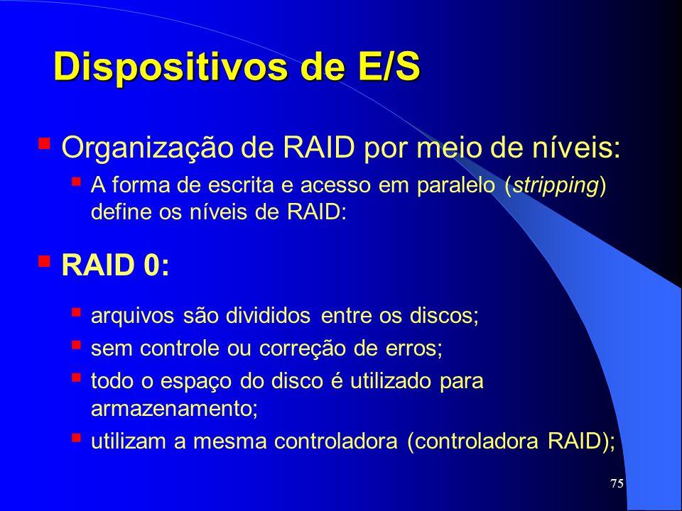 Dispositivos de E/S Organização de RAID por meio de níveis: RAID 0: