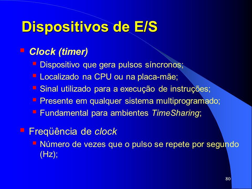 Dispositivos de E/S Clock (timer) Freqüência de clock
