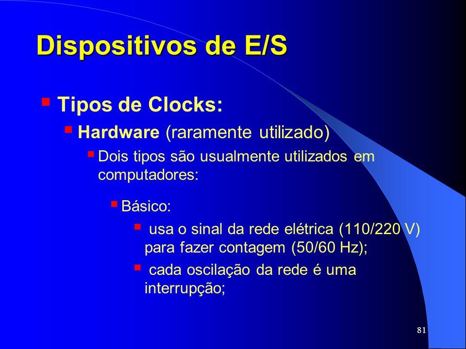 Dispositivos de E/S Tipos de Clocks: Hardware (raramente utilizado)
