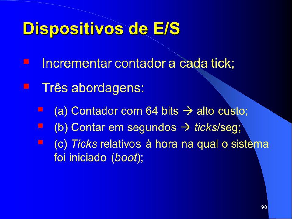 Dispositivos de E/S Incrementar contador a cada tick; Três abordagens:
