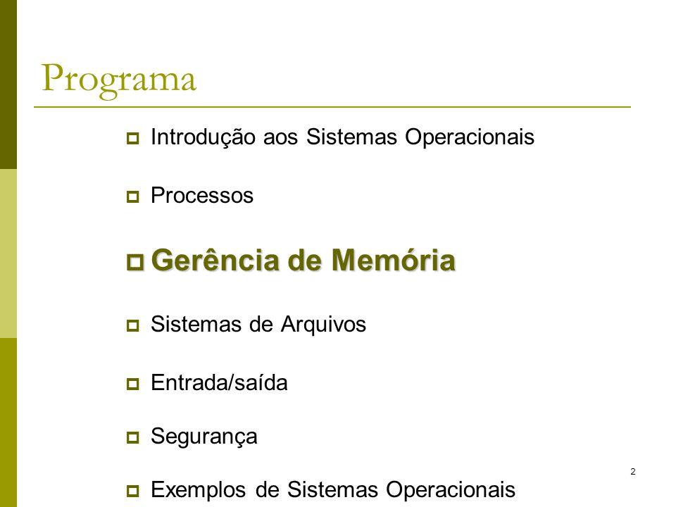 Programa Gerência de Memória Introdução aos Sistemas Operacionais
