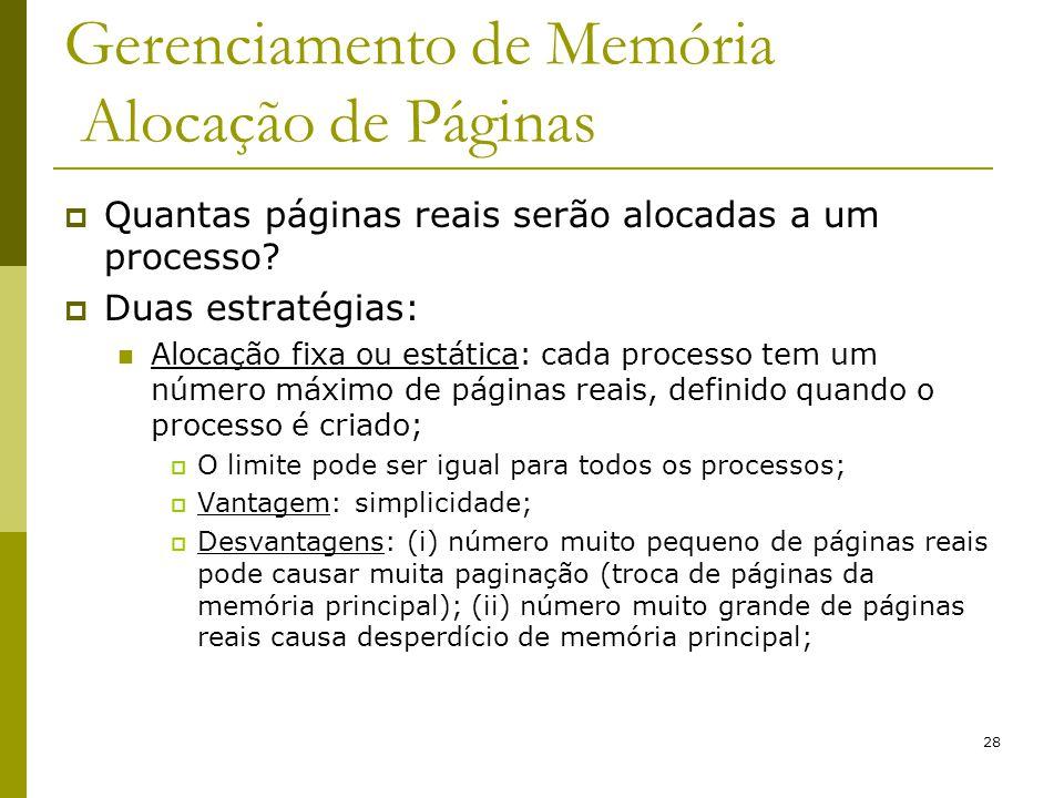 Gerenciamento de Memória Alocação de Páginas
