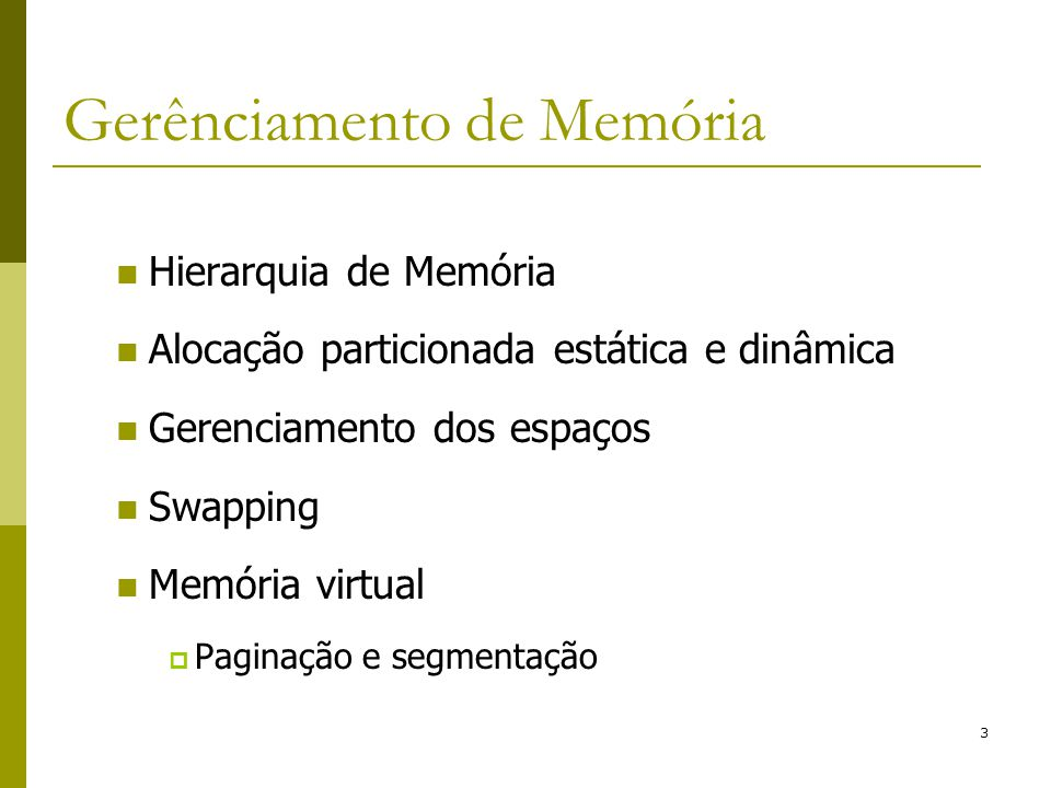 Gerênciamento de Memória