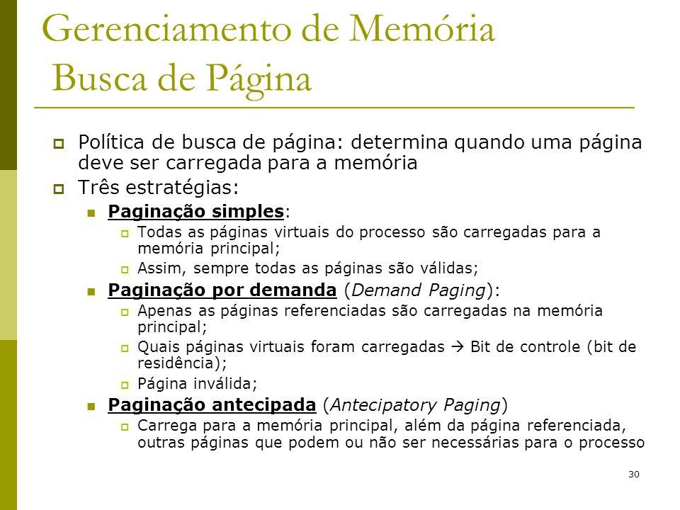 Gerenciamento de Memória Busca de Página