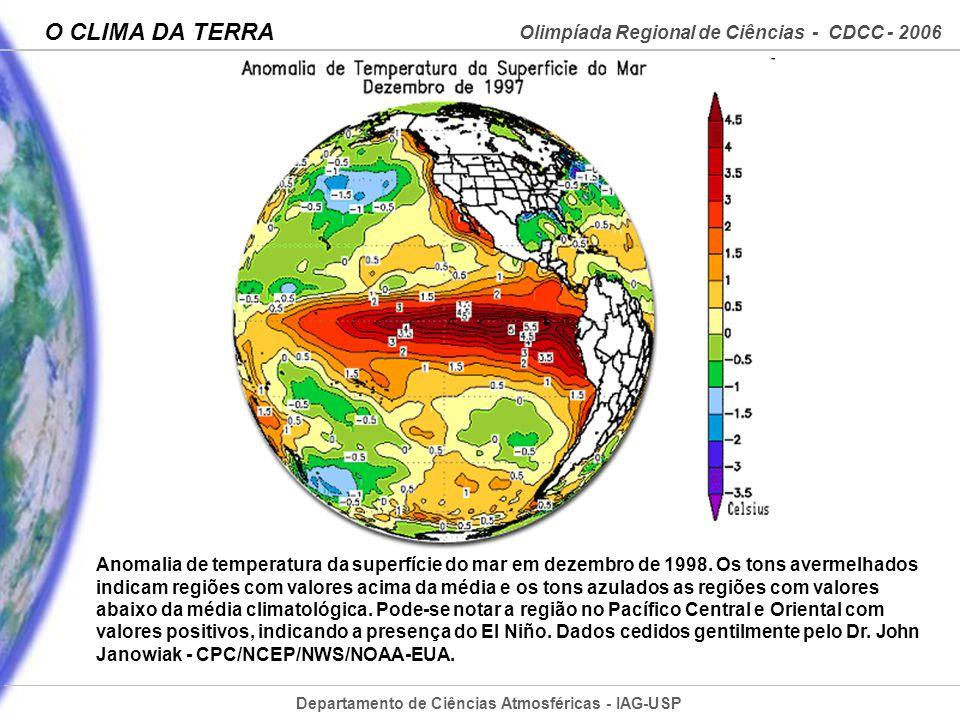 Anomalia de temperatura da superfície do mar em dezembro de 1998