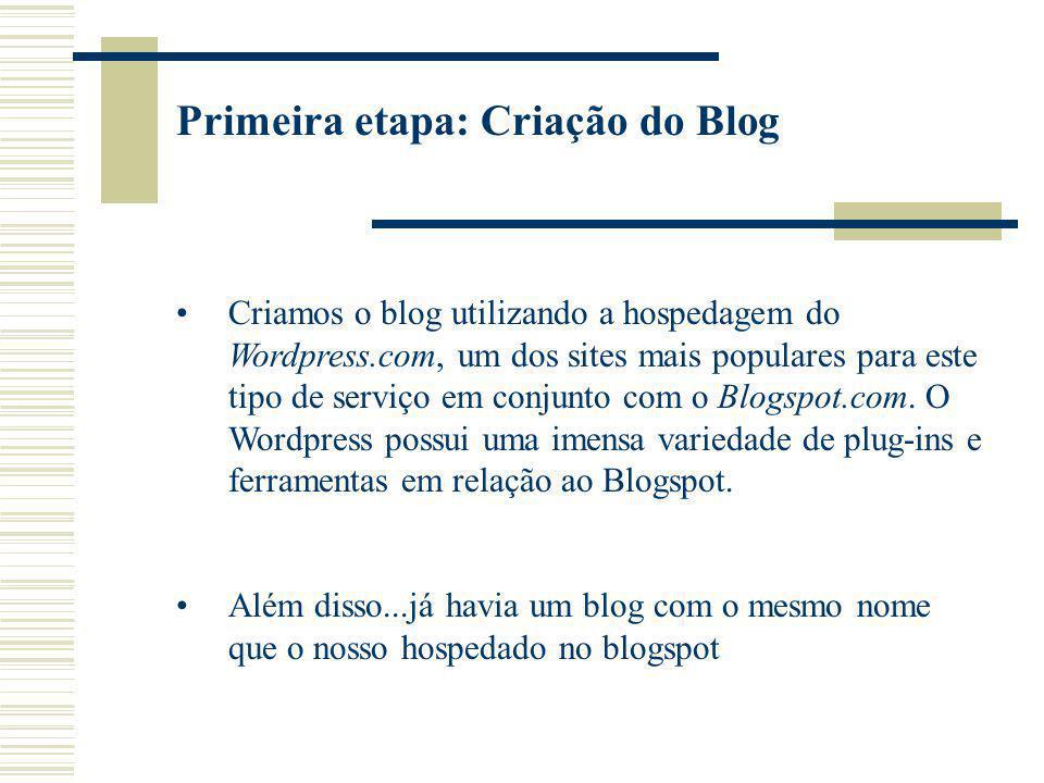 Primeira etapa: Criação do Blog